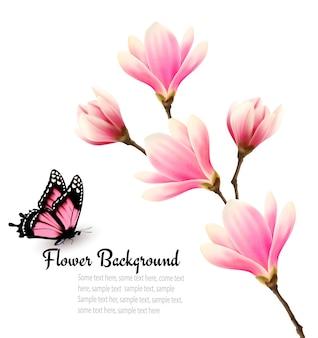 Fond de nature avec branche de fleur de fleurs roses et papillon.