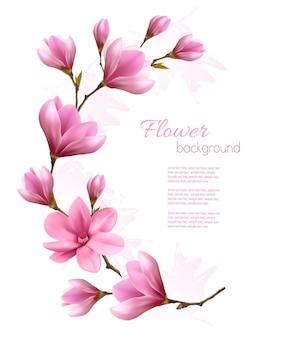 Fond de nature avec brunch de fleurs de fleurs roses. vecteur