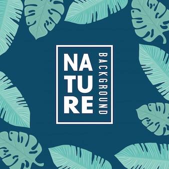 Fond de nature, cadre de feuilles de nature tropicale de couleur pastel