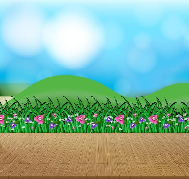 Fond de nature avec champ de fleurs et herbe verte