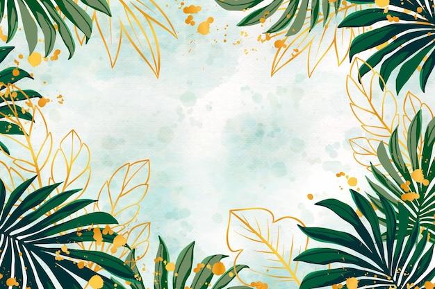 Fond de nature avec une feuille d'or