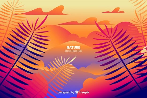 Fond de nature avec des feuilles colorées