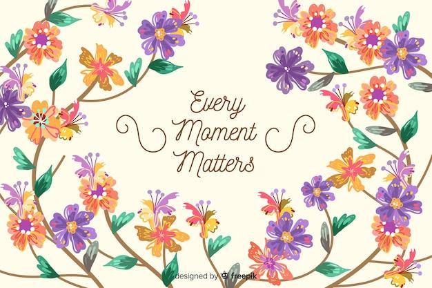 Fond de nature florale avec citation