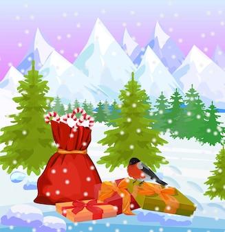 Fond de nature montagnes hiver avec sac santas et cadeaux vector