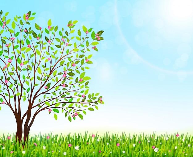 Fond de nature printemps avec herbe verte et arbre en fleurs. illustration