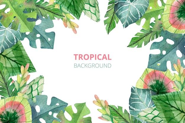 Fond de nature tropicale aquarelle
