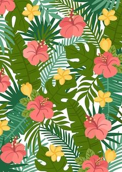 Fond de nature tropicale colorée avec des feuilles de palmier hibiscus frangipanier