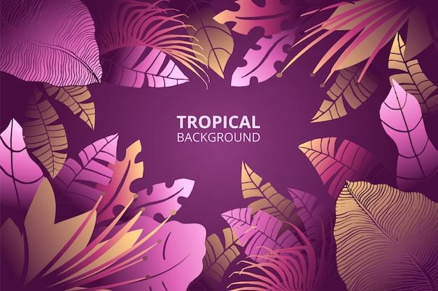 Fond de nature tropicale dessiné à la main