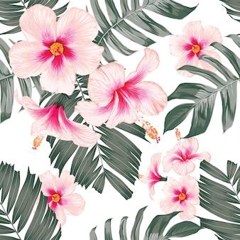 Fond de nature tropicale modèle sans couture avec main dessiner floral et feuilles