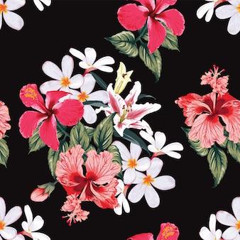 Fond de nature tropicale transparente motif avec dessin floral à la main