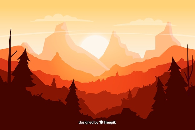 Fond naturel avec dégradé de paysage de montagnes