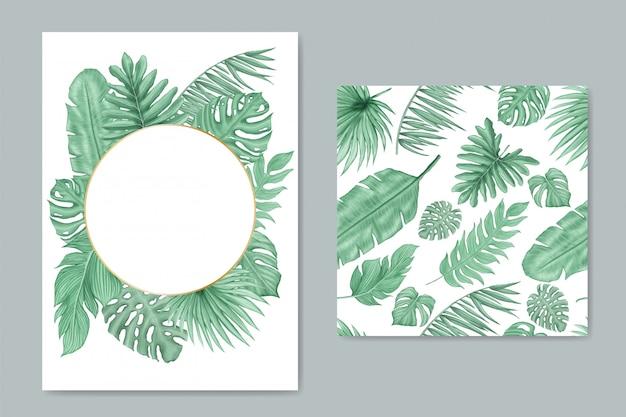 Fond naturel avec des feuilles tropicales collection de jeu de modèle sans couture