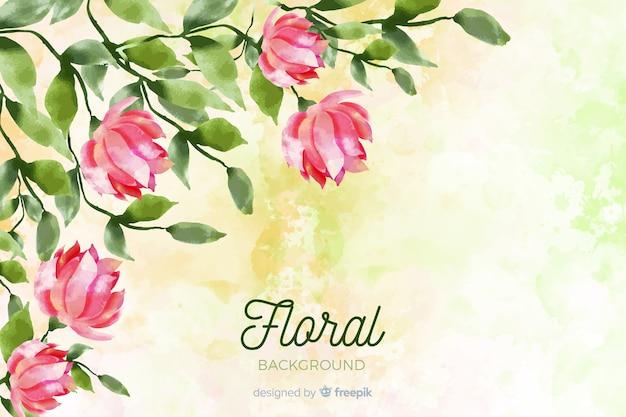 Fond naturel avec des fleurs à l'aquarelle