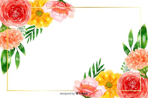 Fond naturel avec des fleurs aquarelles colorées