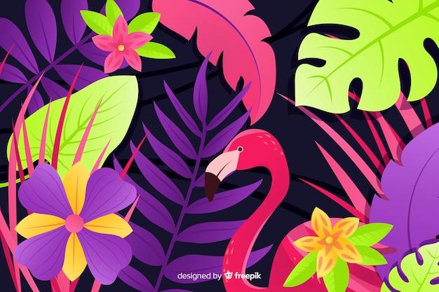 Fond naturel avec des fleurs exotiques colorées