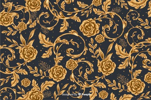 Fond naturel avec des fleurs ornementales dorées