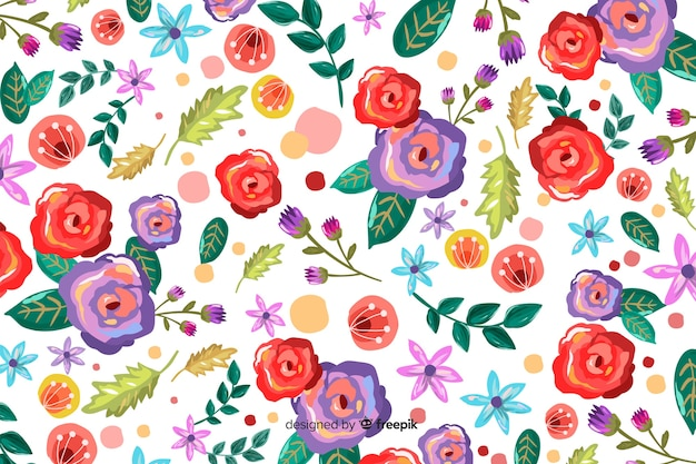 Fond naturel avec des fleurs peintes colorées