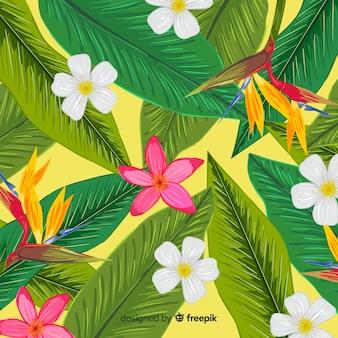 Fond naturel avec des fleurs tropicales