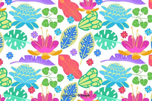 Fond naturel avec floral exotique coloré