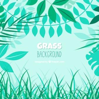 Fond naturel avec de l'herbe et les feuilles