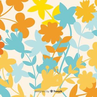 Fond naturel avec des silhouettes florales colorées