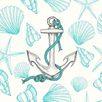 Fond nautique sans couture avec ancres et coquillages dessinés à la main
