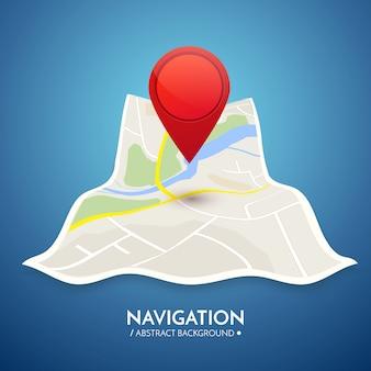 Fond de navigation gps. feuille de route isolée sur blanc avec pointeur.