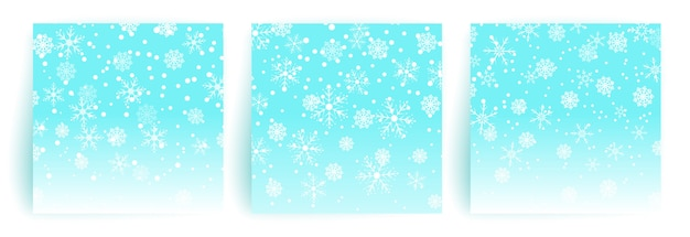 Fond de neige. ensemble de modèle de carte de voeux de noël pour flyer, bannière, invitation, félicitations. fond de noël avec des flocons de neige. illustration.