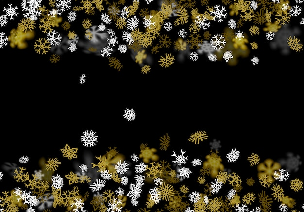 Fond de neige avec des flocons de neige dorés floues dans le noir