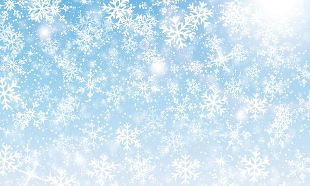 Fond de neige. illustration. chutes de neige d'hiver. flocons de neige blancs sur ciel bleu. fond de noël. chute de neige.