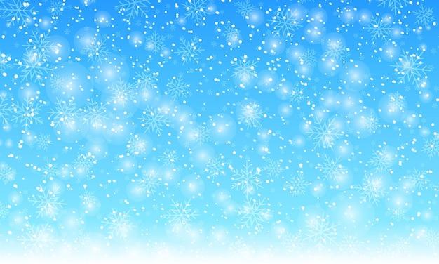 Fond de neige. illustration vectorielle. chutes de neige en hiver. flocons de neige blancs sur ciel bleu. fond de noël. chute de neige.