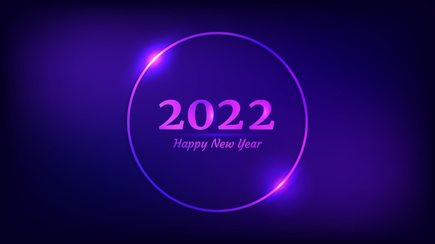 Fond de néon de bonne année 2022. cadre rond néon avec effets brillants pour carte de voeux, flyers ou affiches de vacances de noël. illustration vectorielle