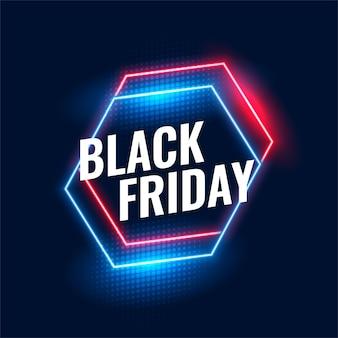 Fond de néon géométrique vendredi noir