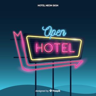 Fond de néon réaliste hôtel