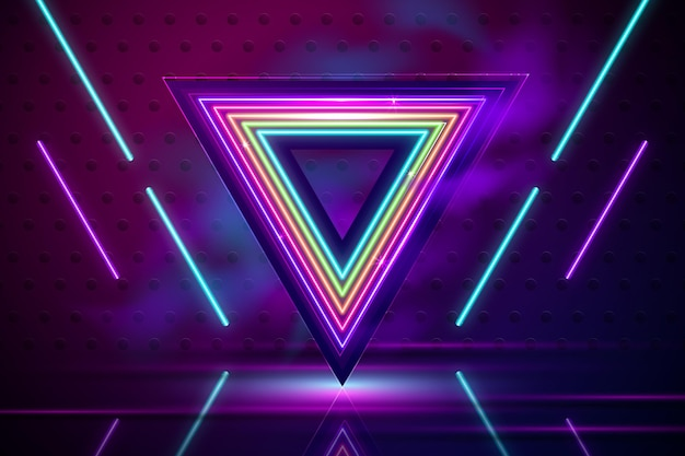 Fond de néons réalistes avec triangle