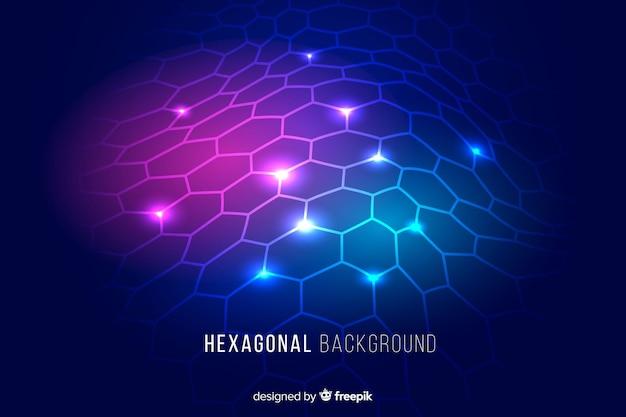 Fond net hexagonal rougeoyante futuriste