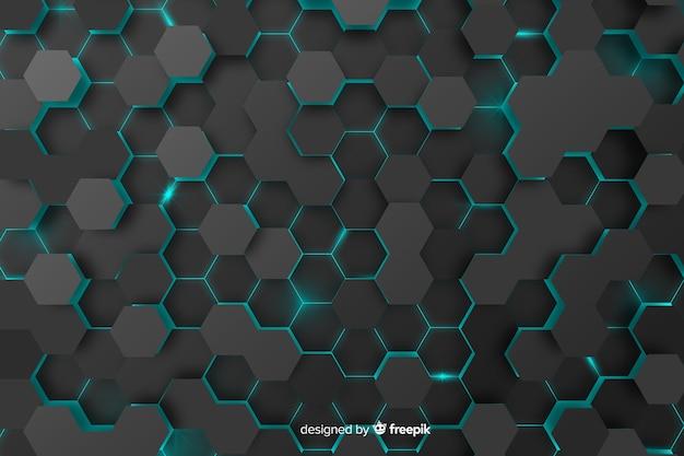 Fond de nid d'abeilles technologique avec des hexagones