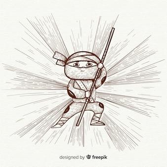 Fond de ninja dessiné à la main