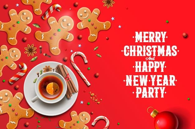 Fond de noël, biscuits en pain d'épice, cannes de bonbon et étoiles d'anis portant sur fond rouge. joyeux noel et bonne année