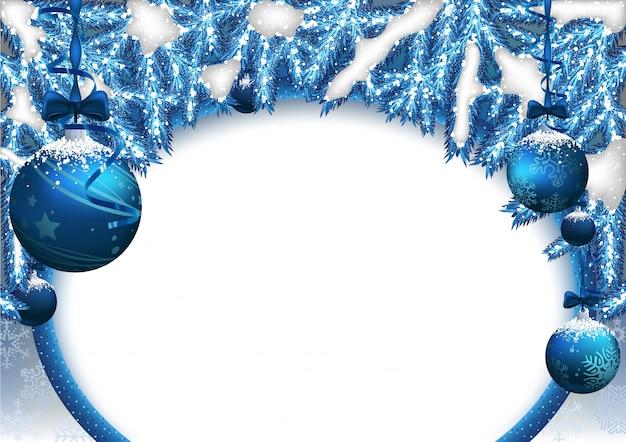 Fond de noël bleu avec des boules