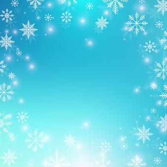 Fond de noël et bonne année avec des flocons de neige. illustration.