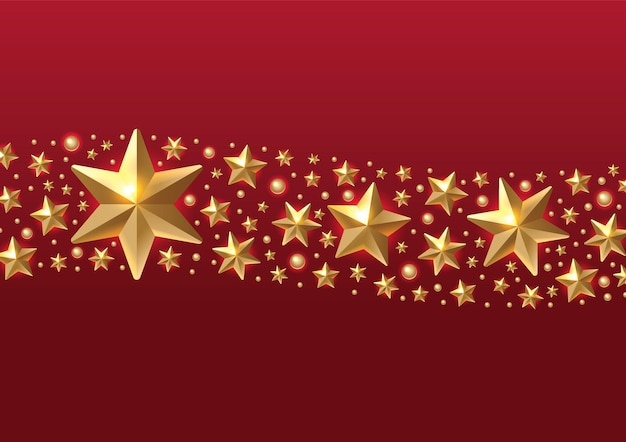 Fond de noël avec bordure faite d'étoiles de feuille d'or découpées et de flocons de neigevœux de noël