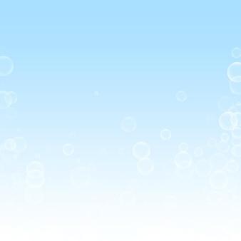 Fond de noël de bulles de savon aléatoires. flocons de neige volants subtils et étoiles sur fond de ciel d'hiver. modèle de superposition de flocon de neige argent hiver authentique. illustration vectorielle tentante.