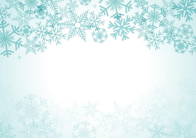 Fond de noël avec des chutes de neige et des cristaux de glace