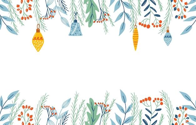 Fond de noël avec des décorations florales. bannières et fond d'écran pour les histoires de médias sociaux. illustration vectorielle dans un style simple et plat - modèles de conception avec espace de copie pour le texte.