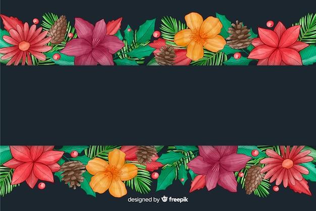 Fond de noël avec dessin aquarelle de fleurs