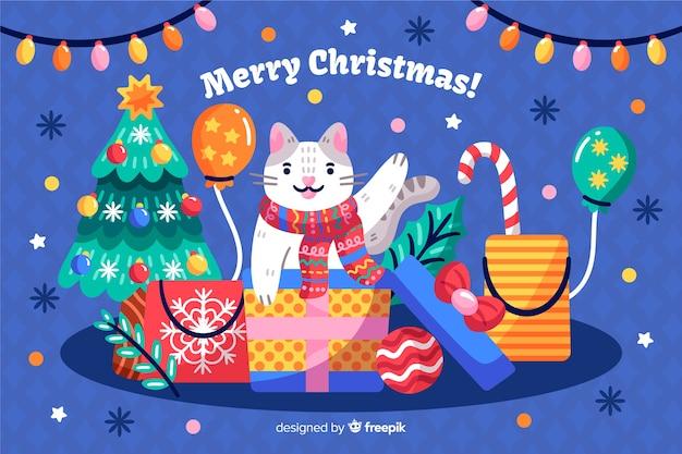 Fond de noël dessiné avec chat et cadeaux à la main