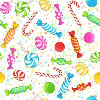 Fond de noël doux. modèle sans couture avec des bonbons, des boules de noël et des confettis. modèle de nouvel an