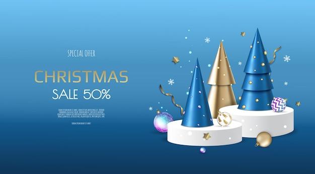 Fond de noël et du nouvel an. arbres de noël or coniques. composition de vacances d'hiver. carte de voeux, bannière, affiche, en-tête pour site web