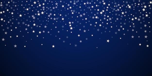 Fond de noël d'étoiles filantes aléatoires. flocons de neige volants subtils et étoiles sur fond de nuit bleu foncé. modèle de superposition de flocon de neige argenté d'hiver magnifique. illustration vectorielle originale.